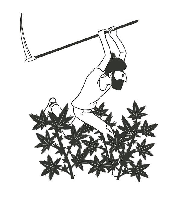 Black and white illustration of gardener swinging scythe at plants